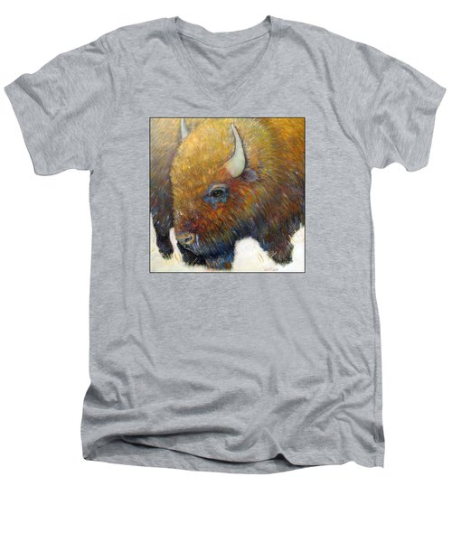 Bison For T-shirts And Accessories Men's V-Neck T-Shirt by Loretta Luglio