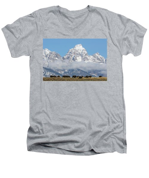 Men's V-Neck T-Shirt featuring the photograph Bison In The Tetons by Wesley Aston