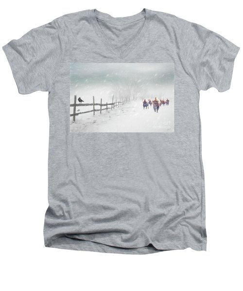 Bison In Winter Men's V-Neck T-Shirt