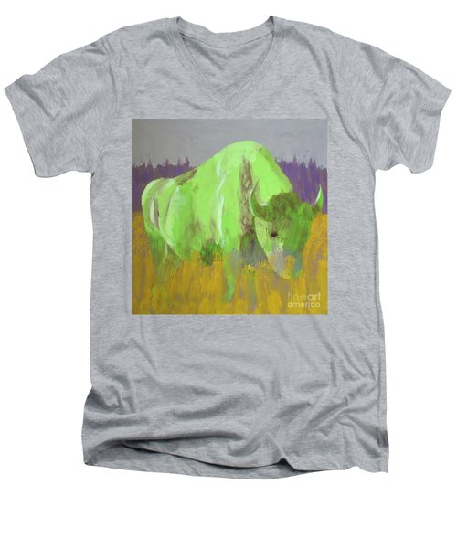 Bison On The American Plains Men's V-Neck T-Shirt by Donald J Ryker III