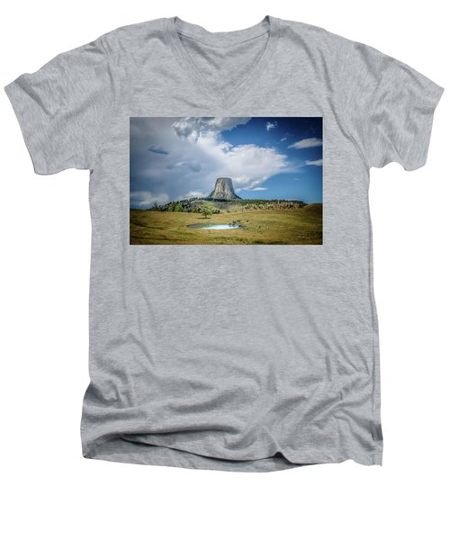 Bison Pond Men's V-Neck T-Shirt by Mark Dunton