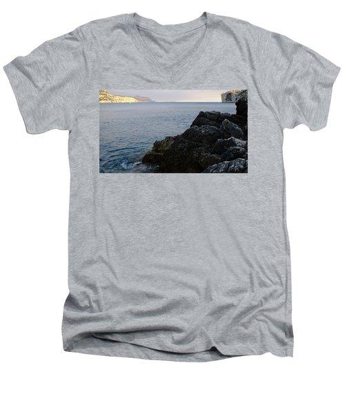 Black And Gold Men's V-Neck T-Shirt