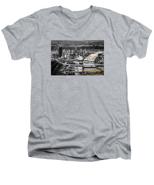 Black And Gold Pittsburgh  Men's V-Neck T-Shirt by Emmanuel Panagiotakis