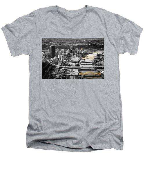 Black And Gold Pittsburgh  Men's V-Neck T-Shirt