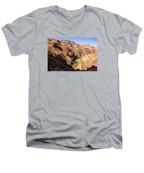 Black And Silver Bridges Spanning The Colorado River  Grand Canyon National Park Men's V-Neck T-Shirt