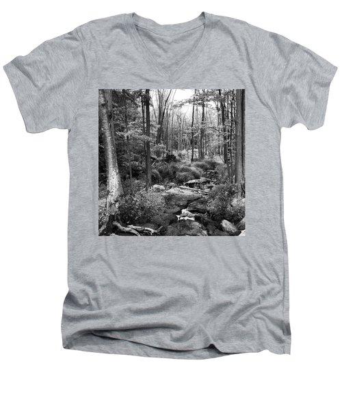 Black And White Babbling Brook Men's V-Neck T-Shirt