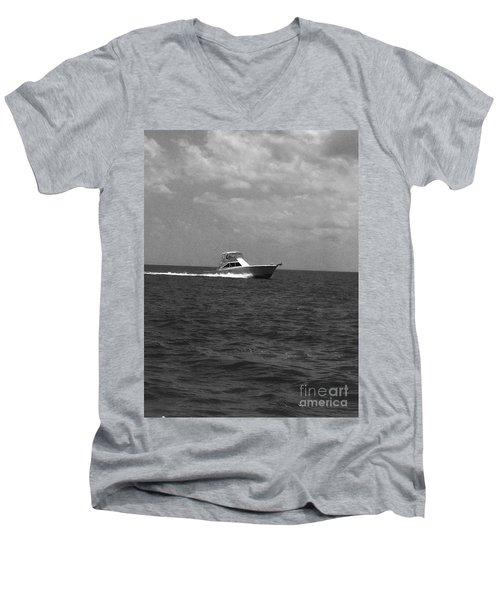 Black And White Boating Men's V-Neck T-Shirt