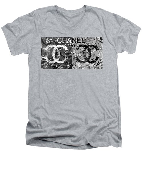 Black And White Chanel Art Men's V-Neck T-Shirt