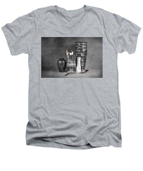 Men's V-Neck T-Shirt featuring the photograph Black And White Composition by Tom Mc Nemar