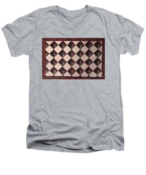 Black And White Checkered Floor Cloth Men's V-Neck T-Shirt by Judith Espinoza