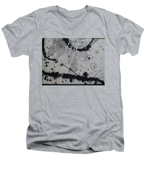 Black And White Four Men's V-Neck T-Shirt
