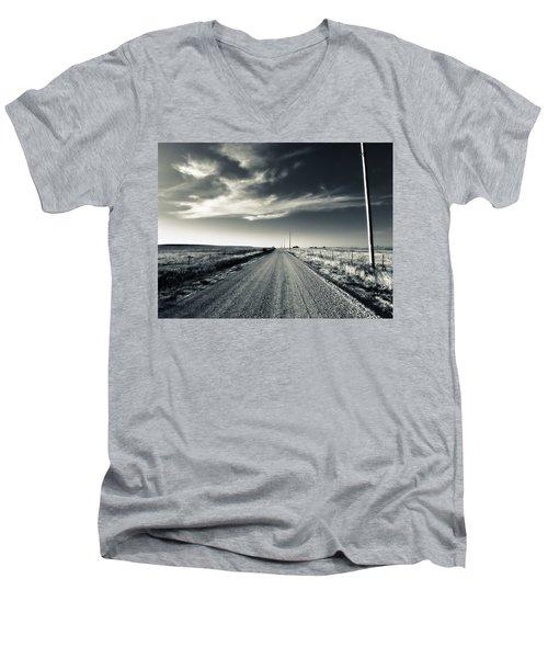 Black And White Gravel Men's V-Neck T-Shirt