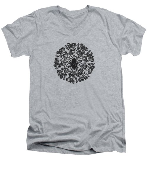 Men's V-Neck T-Shirt featuring the mixed media Black And White Hamsa Mandala- Art By Linda Woods by Linda Woods