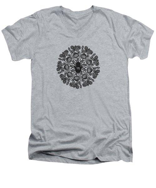Black And White Hamsa Mandala- Art By Linda Woods Men's V-Neck T-Shirt