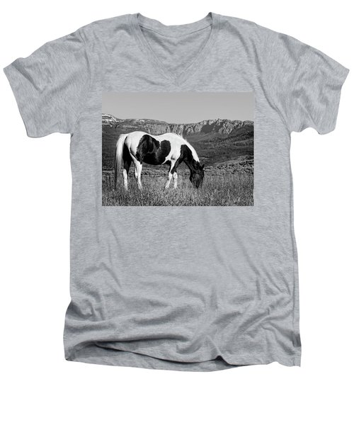 Black And White Horse Grazing In Wyoming In Black And White  Men's V-Neck T-Shirt