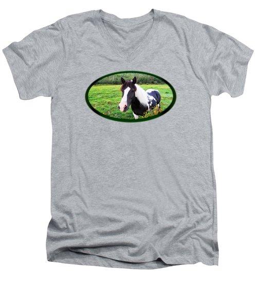 Black And White Horse-natural Setting Men's V-Neck T-Shirt
