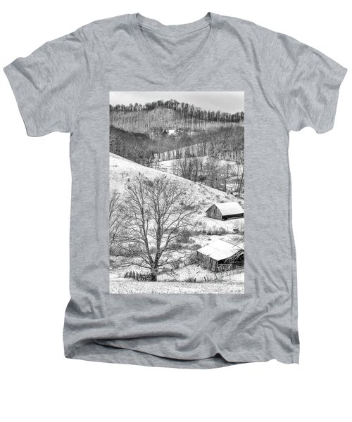 Black And White In Winter Men's V-Neck T-Shirt