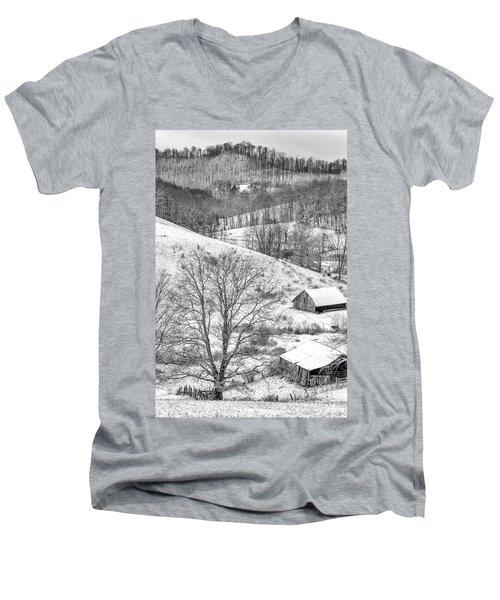 Black And White In Winter Men's V-Neck T-Shirt