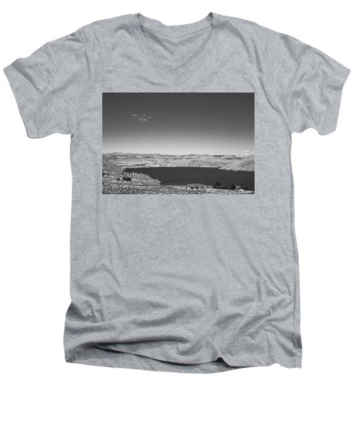 Men's V-Neck T-Shirt featuring the photograph Black And White Landscape Photo Of Dry Glacia Ancian Rock Desert by Jingjits Photography