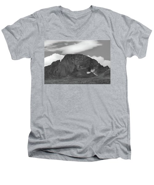 Men's V-Neck T-Shirt featuring the photograph Black And White Longs Peak Detail by Dan Sproul