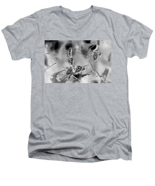 Black And White Monarchs Men's V-Neck T-Shirt