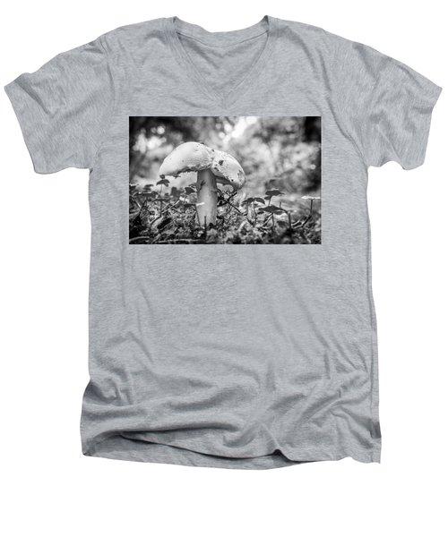 Black And White Mushroom. Men's V-Neck T-Shirt