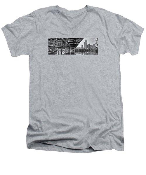 Black And White Panorama Of Downtown Austin Skyline Under The Bridge - Austin Texas  Men's V-Neck T-Shirt by Silvio Ligutti