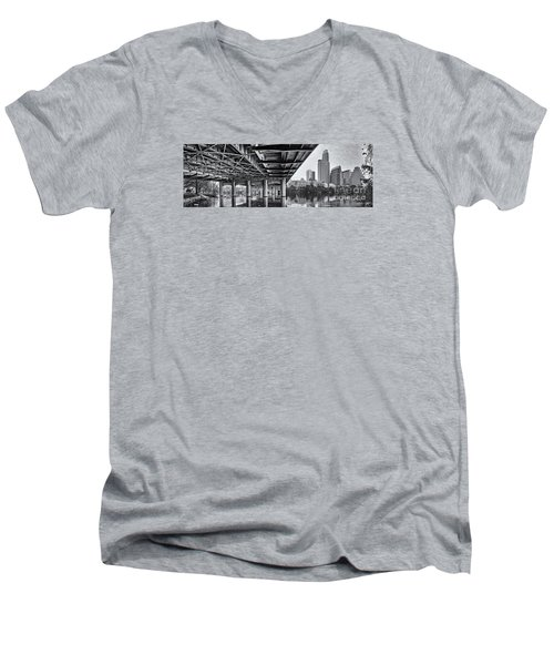 Black And White Panorama Of Downtown Austin Skyline Under The Bridge - Austin Texas  Men's V-Neck T-Shirt