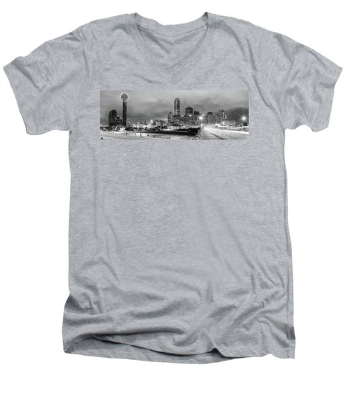 Black And White Panorama Of Downtown Dallas Skyline From South Houston Street - Dallas North Texas Men's V-Neck T-Shirt