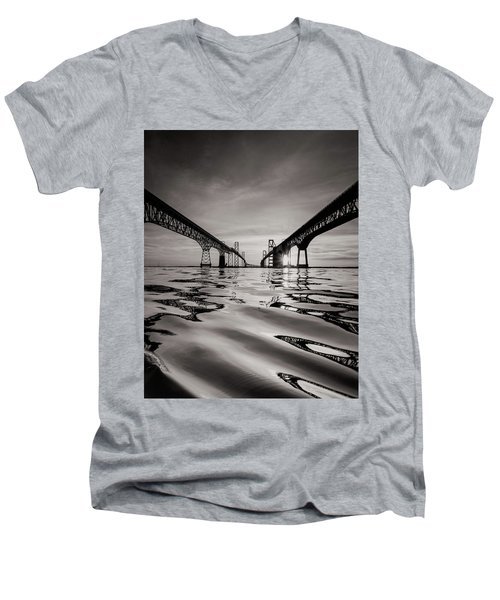 Men's V-Neck T-Shirt featuring the photograph Black And White Reflections by Jennifer Casey