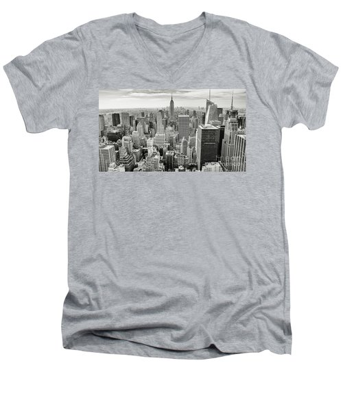 Men's V-Neck T-Shirt featuring the photograph Black And White Skyline by MGL Meiklejohn Graphics Licensing