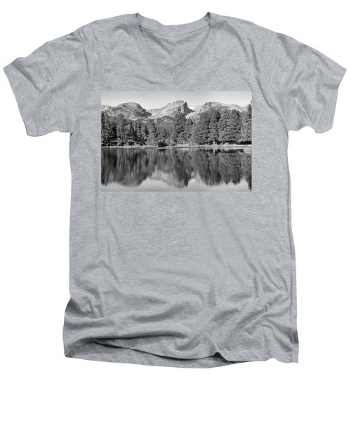 Men's V-Neck T-Shirt featuring the photograph Black And White Sprague Lake Reflection by Dan Sproul