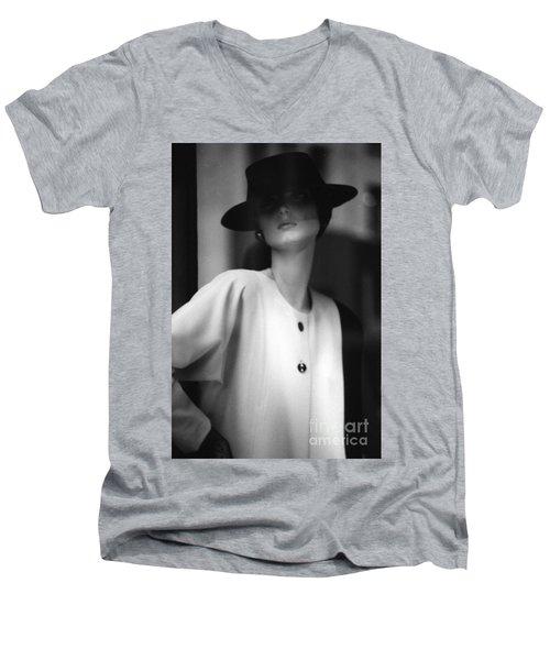 Black And White Men's V-Neck T-Shirt