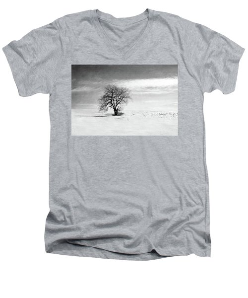 Black And White Tree In Winter Men's V-Neck T-Shirt by Brooke T Ryan