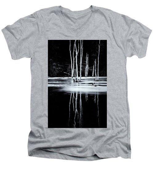 Black And White Winter Thaw Relections Men's V-Neck T-Shirt by Tom Singleton