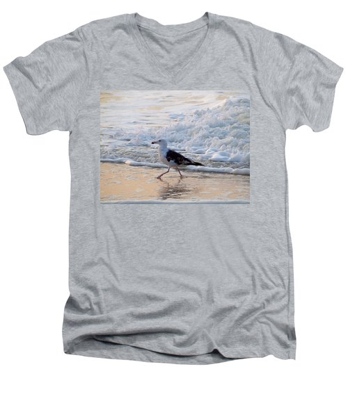 Men's V-Neck T-Shirt featuring the photograph Black-backed Gull by  Newwwman