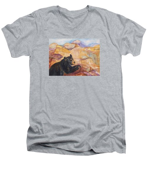 Black Bear Cub Men's V-Neck T-Shirt by Ellen Levinson