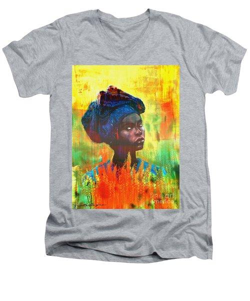 Black Beauty Men's V-Neck T-Shirt by Vannetta Ferguson