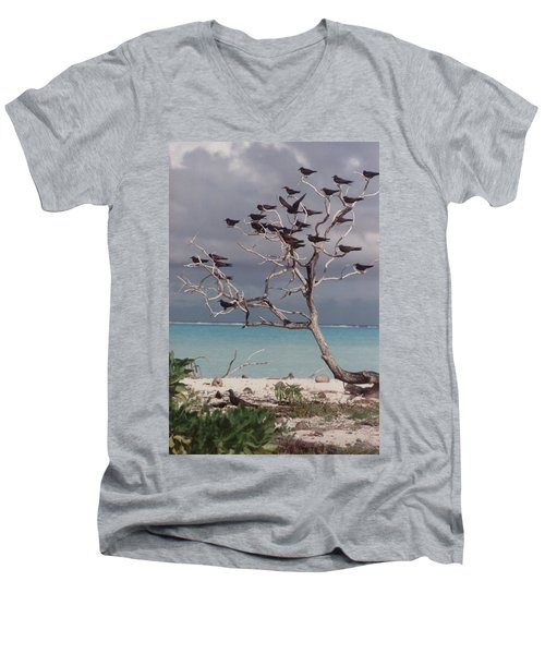 Men's V-Neck T-Shirt featuring the photograph Black Birds by Mary-Lee Sanders