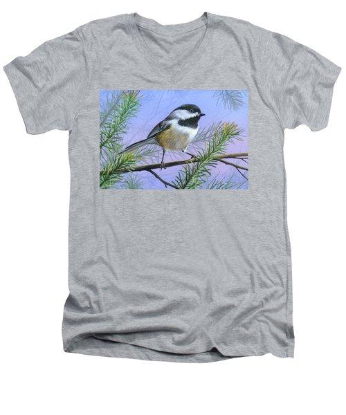 Black Cap Chickadee Men's V-Neck T-Shirt