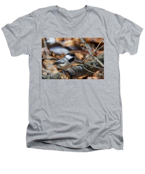 Black-capped Chickadee 0571 Men's V-Neck T-Shirt by Michael Peychich