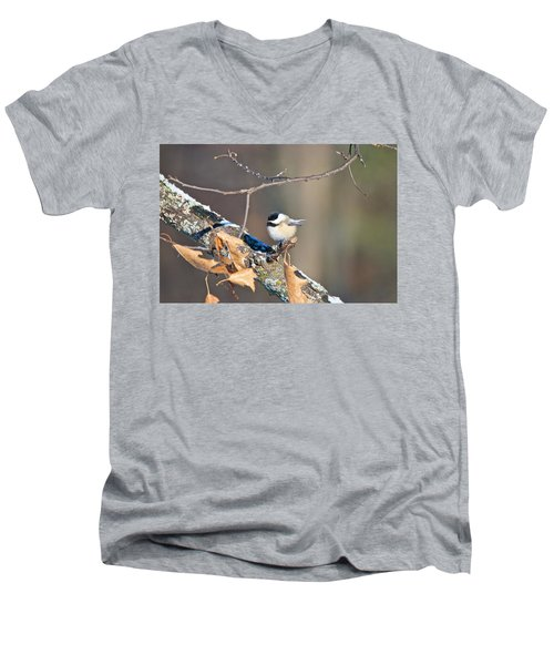 Black Capped Chickadee 1134 Men's V-Neck T-Shirt by Michael Peychich
