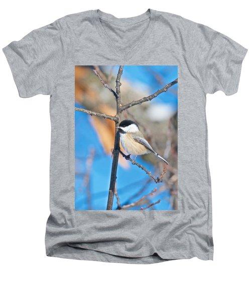 Black Capped Chickadee 1140 Men's V-Neck T-Shirt by Michael Peychich