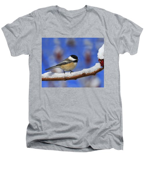 Black-capped Chickadee In Sumac Men's V-Neck T-Shirt