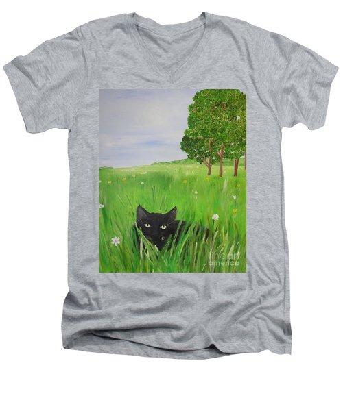 Black Cat In A Meadow Men's V-Neck T-Shirt