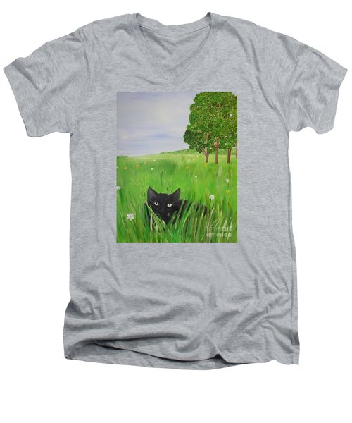 Black Cat In A Meadow Men's V-Neck T-Shirt
