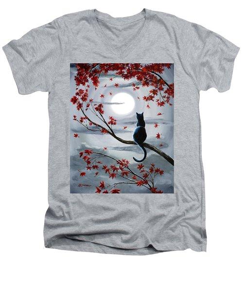 Black Cat In Silvery Moonlight Men's V-Neck T-Shirt