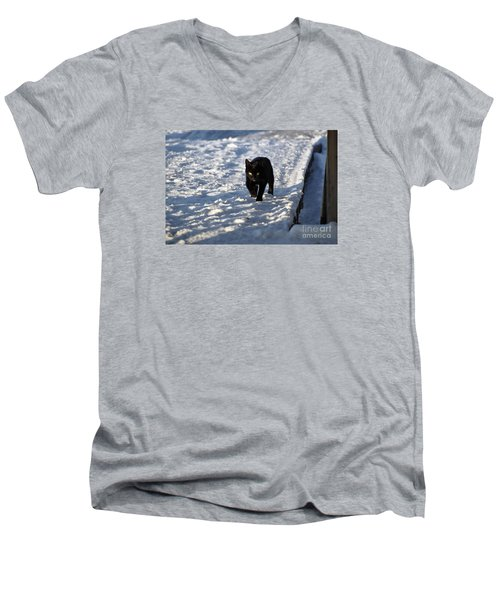 Men's V-Neck T-Shirt featuring the photograph Black Cat In Snow by Mark McReynolds