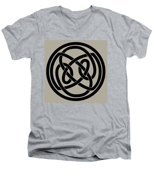 Men's V-Neck T-Shirt featuring the digital art Black Celtic Knot by Jane McIlroy
