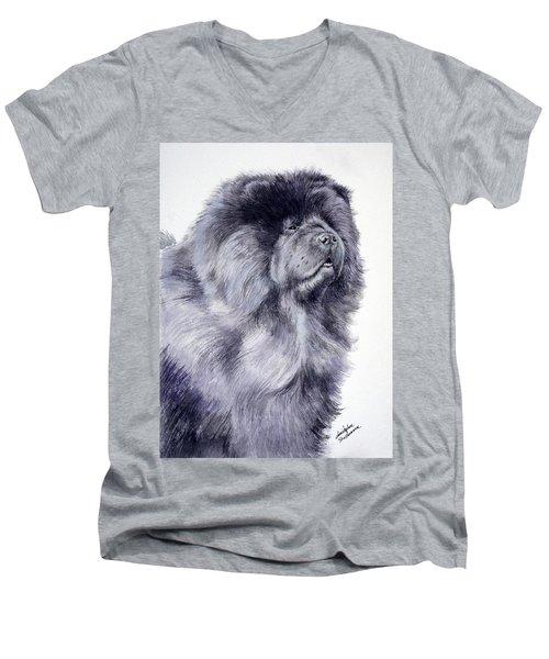 Black Chow Chow  Men's V-Neck T-Shirt